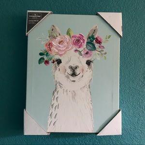 Pastel wall art Llama wearing flower crown